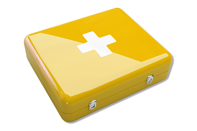 Yellow first aid kit