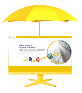 A yellow umbrella over a screenshot of ContinuityCoach