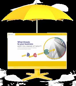 A yellow umbrella over a screenshot of ContinuityCoach