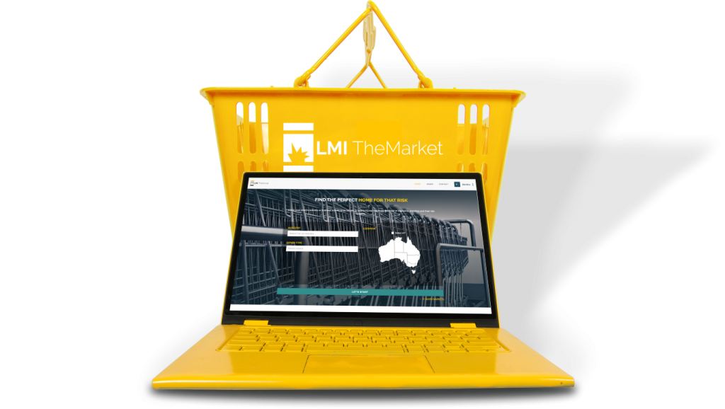 The Market running on a laptop in front of a shopping basket