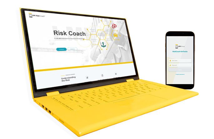 RiskCoach running on a laptop and phone
